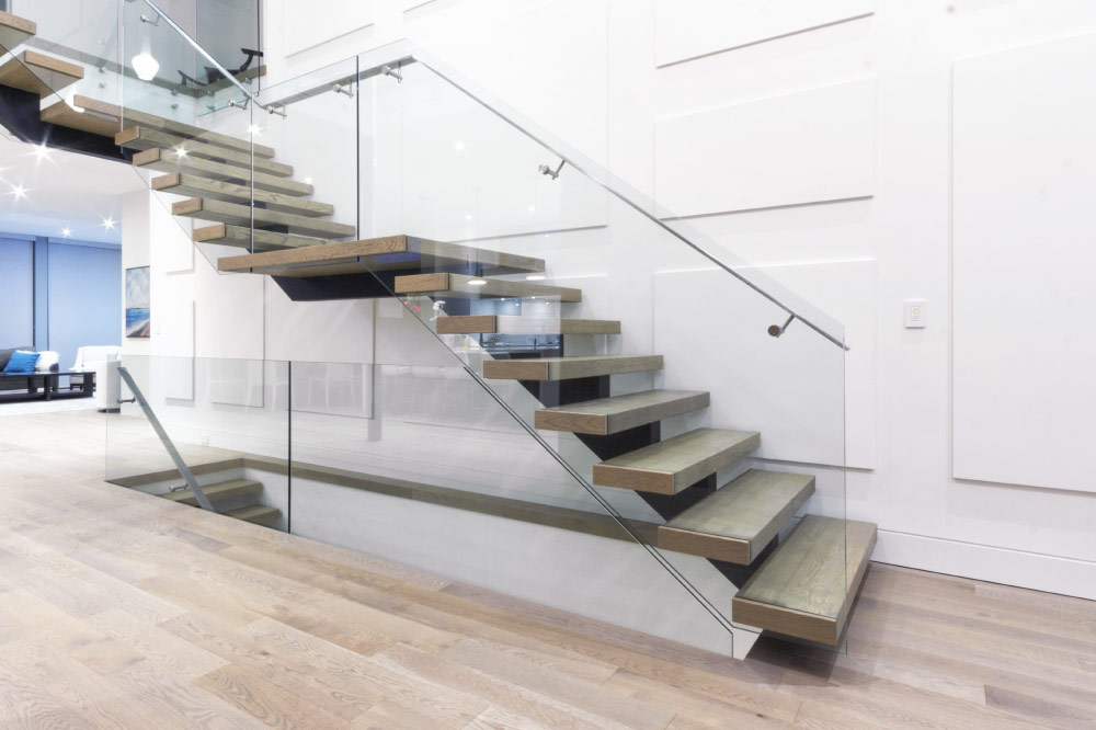 mono stringer / wood box steps / glass side mount handrails / solid stainless steel handrails