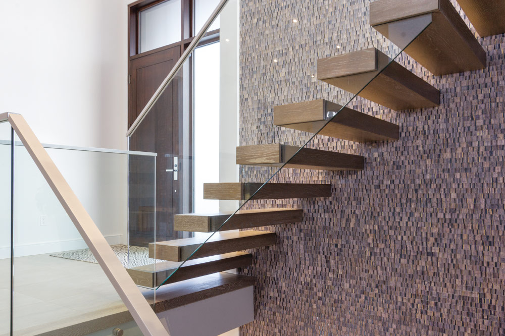 Wall Cantilevered + Box Steps / Top Mount Handrail / Aluminum Handrail