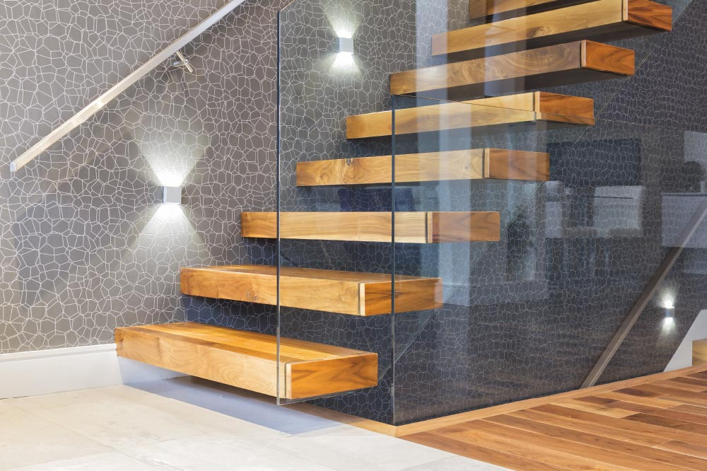 wall cantilevered + box steps / wall mount handrail / stainless steel handrail