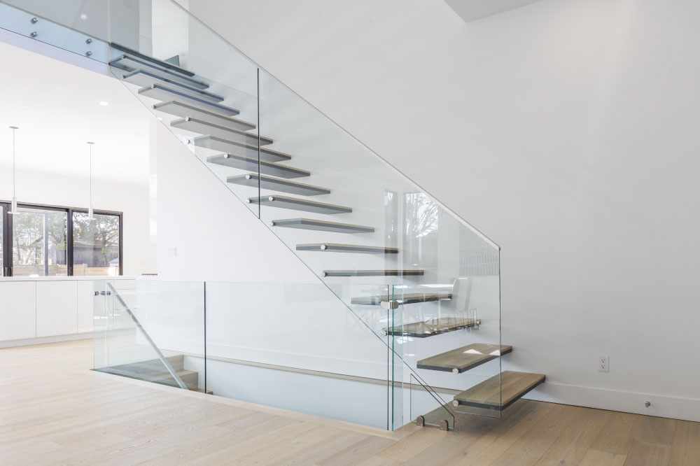 wall cantilevered / metal and wood steps / top mount handrail / aluminum handrail