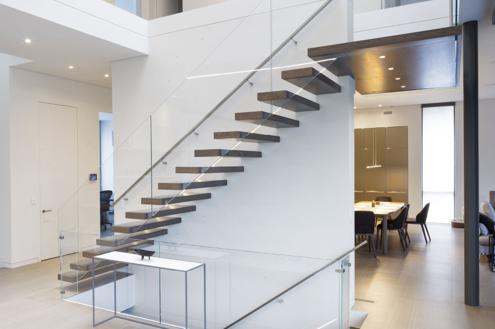 wall cantilevered + box steps / wall mount handrail / aluminum handrail