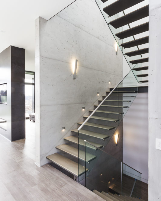 wall cantilevered / metal and wood steps / top mount handrail / anodized aluminum handrail
