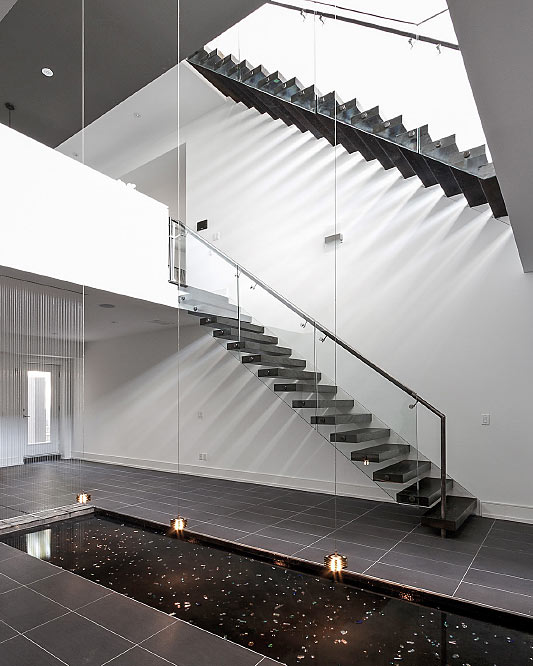 wall cantilevered / box steps / side mount handrail / stainless steel handrail