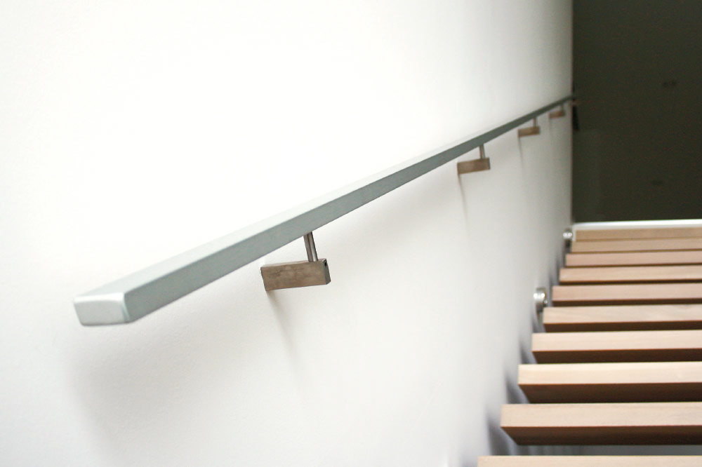 wall mount handrails / solid aluminum handrails / rectangular stainless steel brackets
