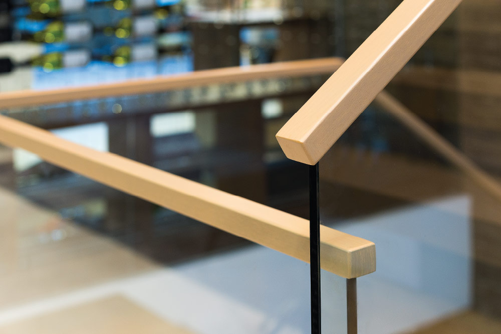 glass top mount wood handrails