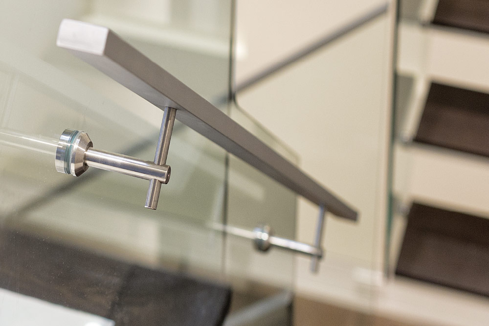 glass side mount handrails / solid aluminum handrails / round stainless steel brackets