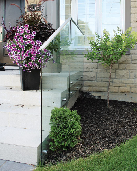 glass top mount handrails / solid aluminum handrail