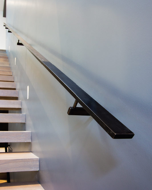 wall mount handrails / solid steel handrails / rectangular brackets / blackened steel