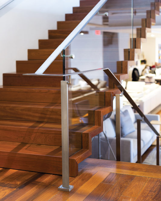 glass side mount handrail / post mount handrail / solid stainless steel handrail