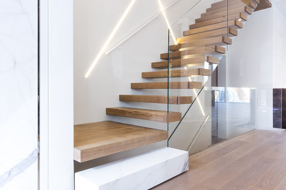 wall supported cantilevered stair with box steps