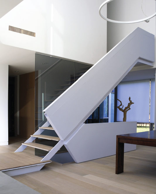 side stringers / metal and wood steps / extra thin steps / floor to ceiling glass / solid guard